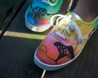 African Safari Tie-Dye Canvas Shoes // Hand dyed, Hand drawn shoes // Freehand Design