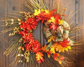Fall Twig Wreath-Autumn Twig Wreath with Orange Mums, Autumn Leaves, Berries and a Plaid Bow