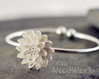 Silver Bangle Bracelet flower Cuff Bracelet 925 ladies jewelry gift 361