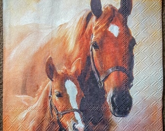 4 single paper napkins for decoupage Craft Scrap Decopatch Paper supplies, 33 x 33 cm, 2 ply, HORSES motif, table party napkins , brand new
