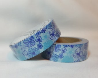 Washi Tape/ Craft Tape- Blue Purple Flowers, Floral