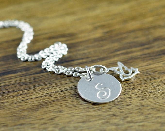 Hummingbird Charm Initial Personalized Sterling Silver Necklace Gift for Her Hummingbird Necklace