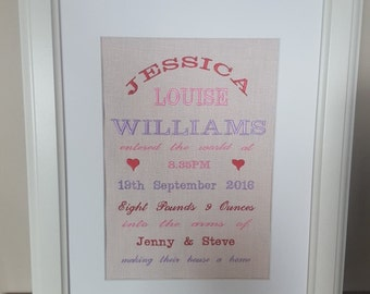 Personalised Embroidered Birth Annoucement Girl