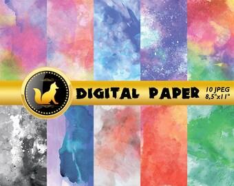 Rainbow Watercolor Background,Watercolor Digital Paper,Watercolor Scrapbook Paper,Watercolor Backdrop,digital paper,scrapbooking paper