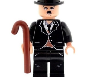 Custom Design Minifigure - Charlie Chaplin (Comedy) Printed On LEGO Parts
