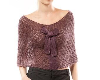 Bolero with bow Sweater Cardigan Accessory Handmade Knit Knitwear Mohair