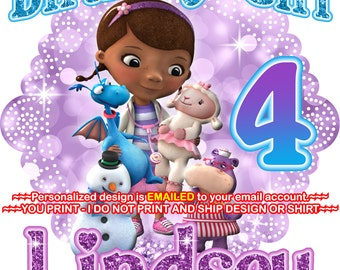 YOU PRINT - Doc Mcstuffins Birthday Girl Iron On, Doc McStuffins Mommy of iron on, Doc McStuffins Daddy of shirt decal, - DOCMCSTUFFINS1