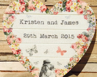 Handmade Personalised Large Wooden Heart Weddings Engagements Births etc.
