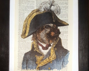 Admiral Dog - Victorian collage on dictionary page - vintage prints