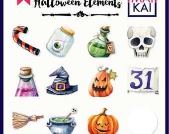 SALE Halloween Clipart Watercolor clip art Pumpkin Witch Cute Halloween clip art Hand drawn Halloween Cartoon Funny Kids clipart