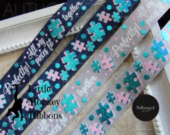 Autism Awareness, All my pieces fit perfectly, bow making, craft supplies, scrapbooking , grosgrain ribbon