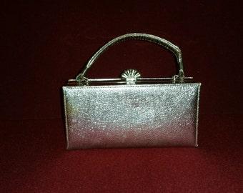 Vintage Metallic Gold Evening Bag Box Purse