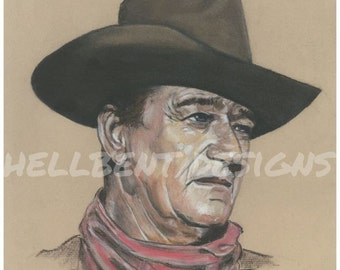 John Wayne Art Black And White Painting With Red Bandana
