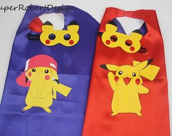 Pikachu cape and mask, Pokemon Party Mask, Pokemon Go, Pokemon Birthday Decorations, Pokemon Party Favors, Pikachu Costume, Pikachu