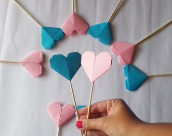Hearts Cake Topper, Origami Cake Topper, Hearts Party, Baby Shower, Baby Shower Cake Topper, Birthday Cake Topper