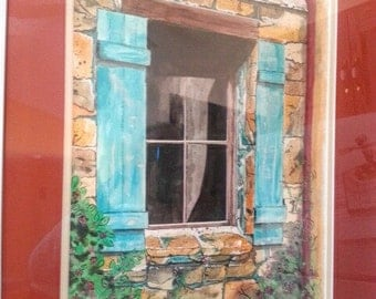 Watercolour painting of old stone walls