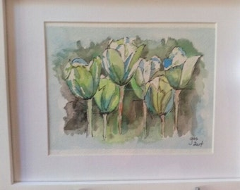 Watercolour pastel tulip painting, Framed in White colour and matted