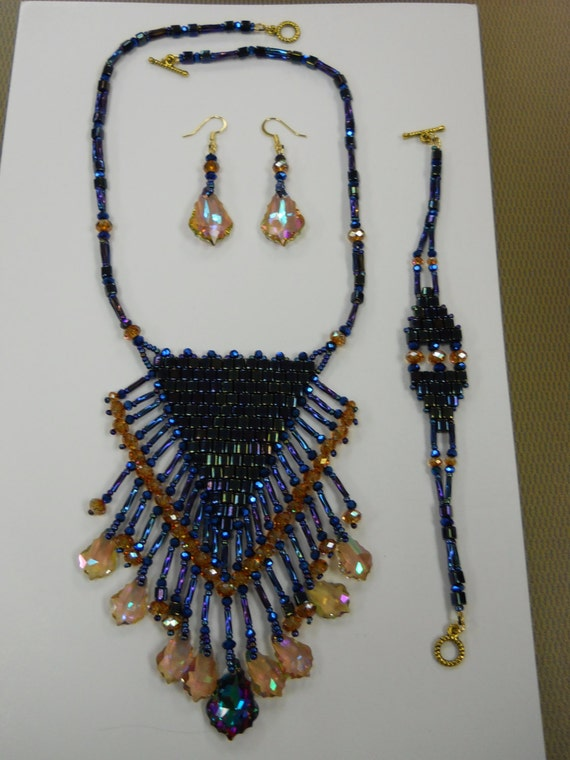 Swarovski Drop Crystal and Cube Necklace set w/ Gold Plated Clasp