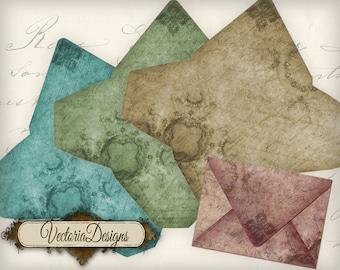 Shabby Elegant Mini Envelopes letter writing printable hobby crafting digital graphics instant download digital collage sheet - VD0514