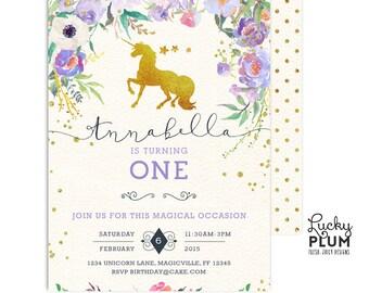 Unicorn Birthday Invitation / Woodland Birthday Invitation / First Birthday Invitation / My Little Pony Invitation / Purple Flowet