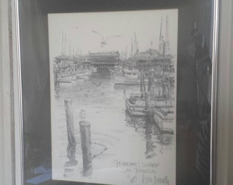 Fisherman's Wharf; San Francisco lithograph pencil drawing signed by Don Davey 1977. Professionally framed and mounted.