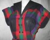 Cotton, Plaid 50's Dress Small.