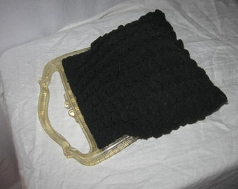 30's Black Crocheted purse with plastic handles Tilco