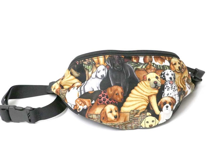 Cute Dogs All Over fabric Fanny Pack - Hip Waist Bag with 2-zippered compartments