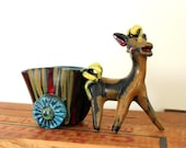 vintage clay donkey planter made in Italy . mid century modern donkey planter or toothpick holder . hand painted 1950s mid mod planter