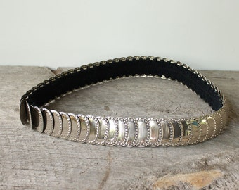 vintage silver stretch belt . fish scale rocker belt . womens cinch belt