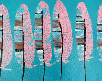 Feathers,Dot Art,Original Art,Abstract Painting,Teal,Blue,Pink,Painting on Canvas,Large Abstract,Canvas Art,Wall Art,Home Decor,Bird Feather