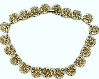 Trifari Alfred Philippe Gold Tone Flower Necklace
