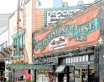 The Stinking Rose Photo Sketch, San Francisco Little Italy North Beach Restaurant, 8x10 Fine Art Print