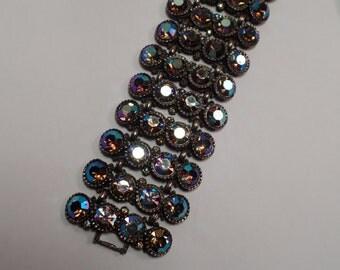 HUGE! 1950's Bracelet with Unusual Aurora Borealis Rhinestones