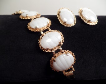 REDUCED  1960's Bracelet and Earrings Set with Art Glass Stones Signed Judy Lee