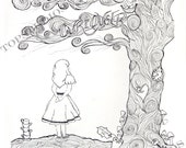 Alice in Wonderland Inspired Drawing Doodle Tree Repro Coloring Book Page