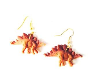 Earrings THE STEGOSAURUS -- Miniature dinosaur earrings, light brown by The Sausage