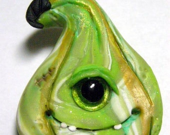 OOAK Cyclops Monster Gourd Halloween pin doll brooch by Amber Matthies