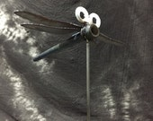 Dragon Fly bobbin garden stake  Made in Iowa by JunkFx. Free Shipping