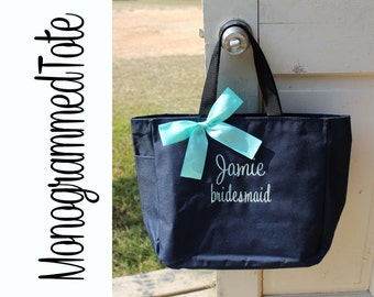 7 Personalized Bridesmaid Gift Tote Bags Personalized Tote, Bridesmaids Gift, Monogrammed Tote