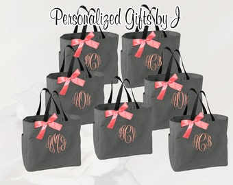 10 Personalized Bridesmaid Tote Bags- Bridesmaid Gift- Personalized Bridemaid Tote - Wedding Party Gift - Name Tote-