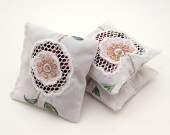 3 Rose Petal Sachets - Mesh Flower Applique - Embroidered Recycled Linens - Dried Rose Petals - Potpourri - Rose Sachet