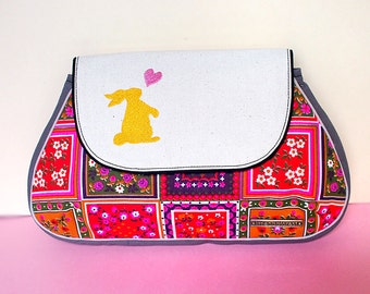 Clutch Purse, Clutch Bag, Bridesmaid Clutch, Vintage Fabric Clutch, Checkered Print Purse - Bunny Love Clutch (Vintage Flora Squares)