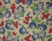 "Vintage Lightweight Cotton Fabric - Blue + Red Fruits and Flowers, 19"" x 30"""