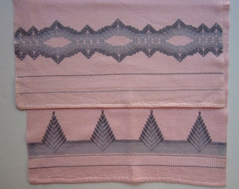 Pair Peach Vintage Huck Towels with Gray Swedish Weaving Embroidery