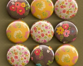 One Inch Magnet Set - Colorful Flowers