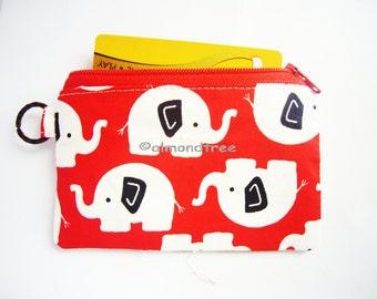 Cute Elephant handmade purse travel organizer, sac a main, portefeuille, id1370173, portemannaie, id lanyard zipper pouch, gift for her
