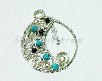 Sale Starry starry night, moon and stars wire wrapped pendant, crystals and wire work id1370313, gift for her
