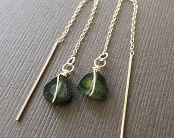 Watermeilon Tourmaline Threader Earrings Long Chain Dangle Earrings