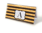 Personalized Checkbook cover - Honey Bee Stripe - black and yellow striped checkbook holder - queen bee custom monogram initial